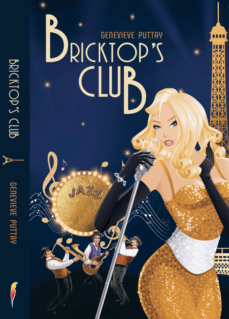 Cover of Bricktop's Club, showing a jazz singer in Paris.